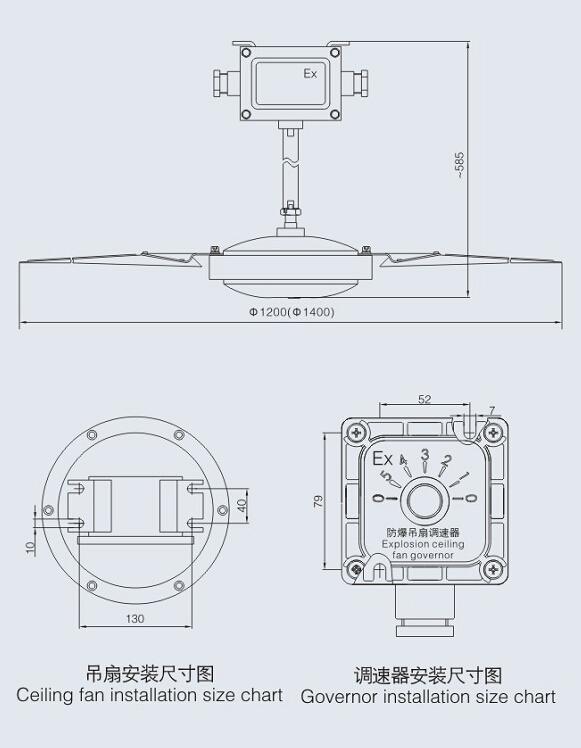 "/min  防护等级:IP54  防腐等级:WF1  引入口规格:2-G3/4""  适用电缆外径:φ9mm~φ14mm 结构特性 1.BFC防爆吊扇由防爆电机、扇叶、接线盒、防爆调速器等部分组成; 2.防爆电机外壳采用铝合金压铸成型,表面高压静电喷塑; 3.防爆调速器采用电容式档位调速,档位调节无死区,可实现1-5级风俗调节; 4."